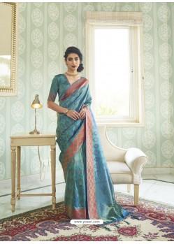 Aqua Grey Designer Party Wear Handloom Weaving Sari