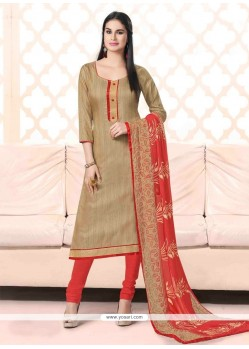 Grandiose Bhagalpuri Silk Beige Churidar Suit