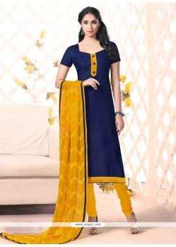 Distinguishable Bhagalpuri Silk Navy Blue Churidar Salwar Kameez