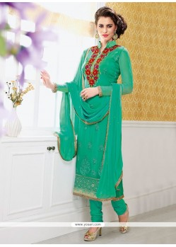 Groovy Green Faux Chiffon Churidar Suit