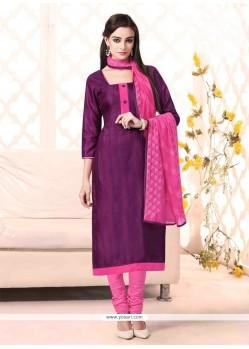 Catchy Lace Work Violet Bhagalpuri Silk Churidar Salwar Suit