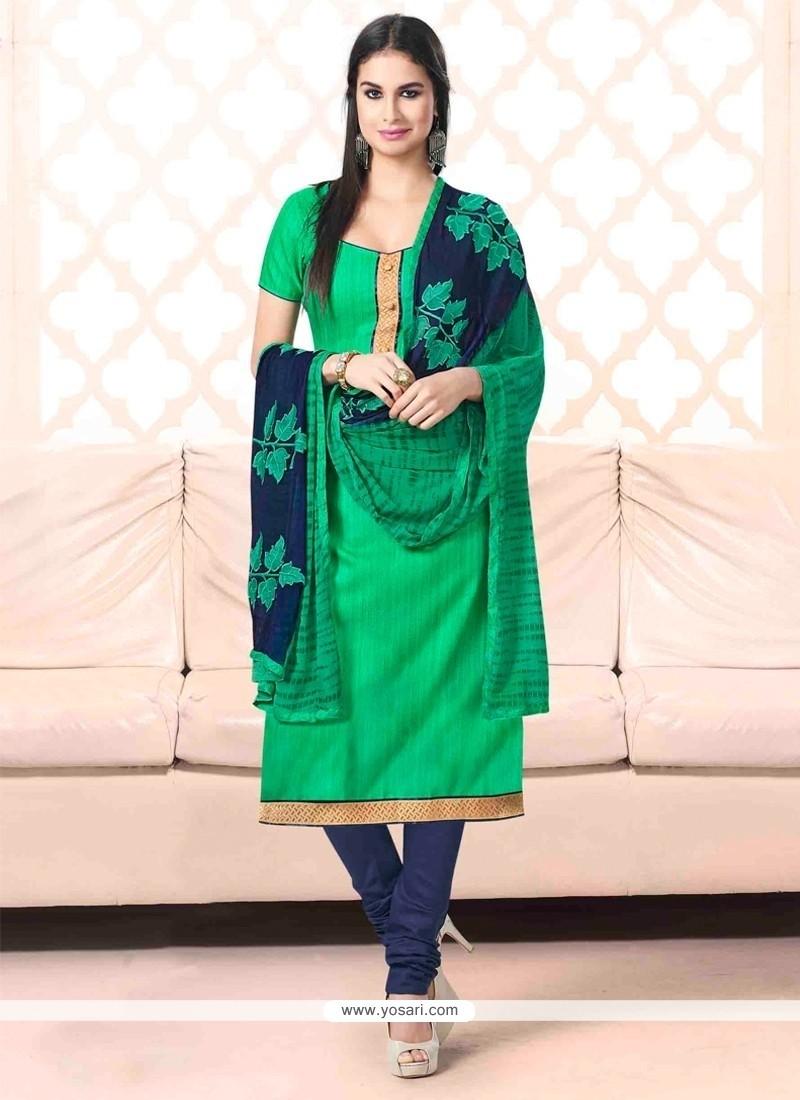 Vivid Lace Work Bhagalpuri Silk Sea Green Churidar Salwar Suit