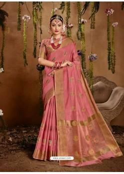 Pink Designer Party Wear Cotton Sari