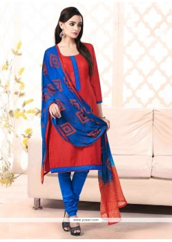 Grandiose Red Bhagalpuri Silk Churidar Salwar Suit
