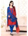 Grandiose Red Bhagalpuri Silk Churidar Salwar Suit