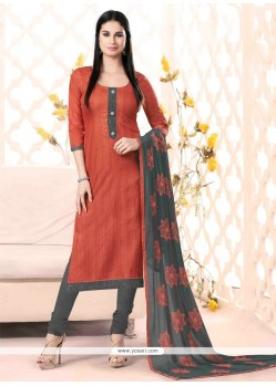 Orphic Lace Work Rust Churidar Salwar Kameez