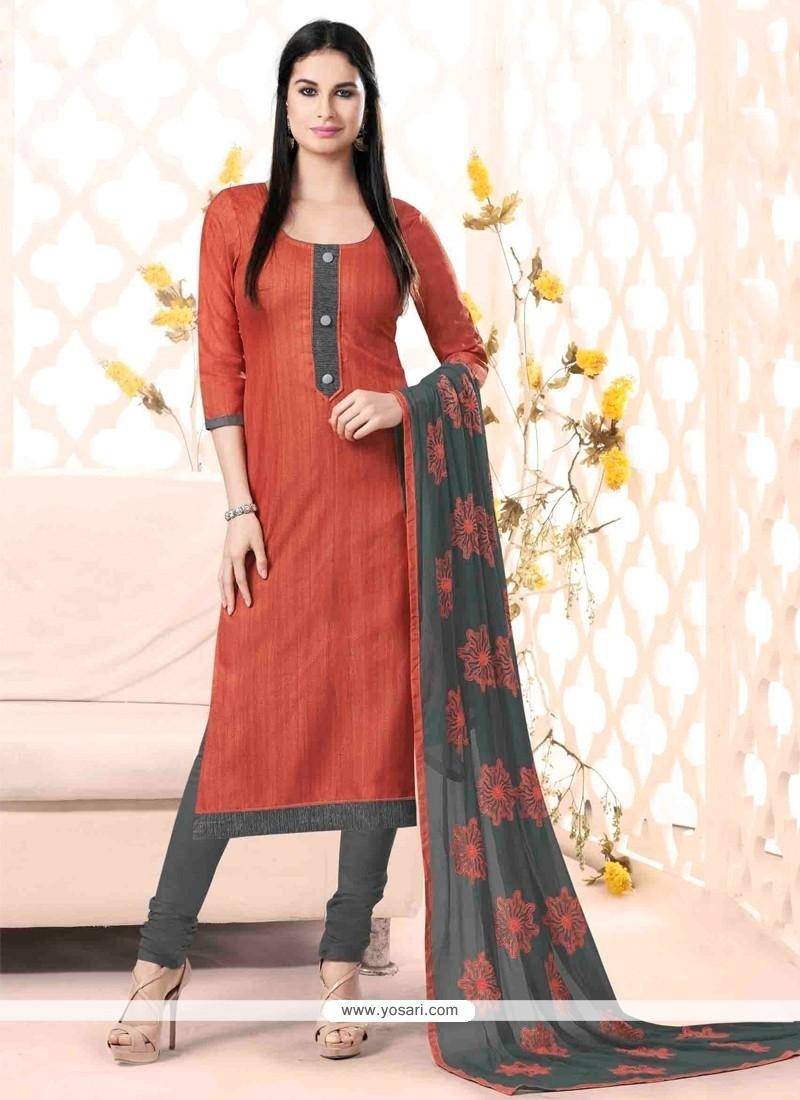 Orphic Lace Work Rust Churidar Salwar Kameez