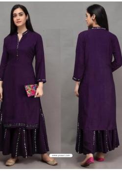 Purple Designer Readymade Kurti With Sharara