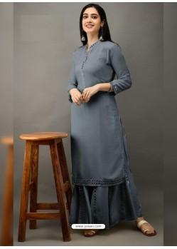Grey Designer Readymade Kurti With Sharara