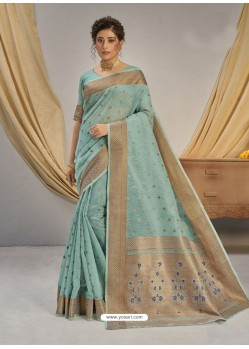Sky Blue Designer Party Wear Cotton Jacquard Sari
