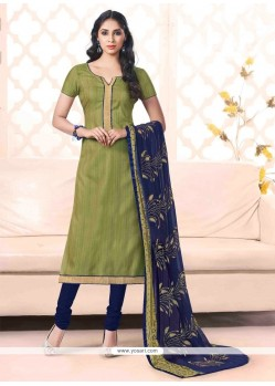 Mystical Bhagalpuri Silk Green Lace Work Churidar Salwar Kameez