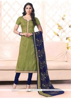 Mystical Bhagalpuri Silk Green Lace Work Churidar Salwar Kameez