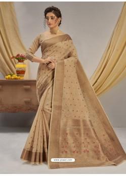 Beige Designer Party Wear Cotton Jacquard Sari
