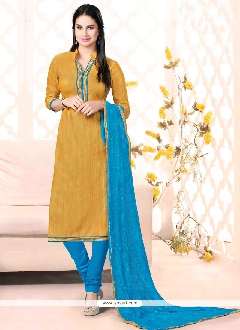 Sophisticated Bhagalpuri Silk Lace Work Churidar Salwar Suit