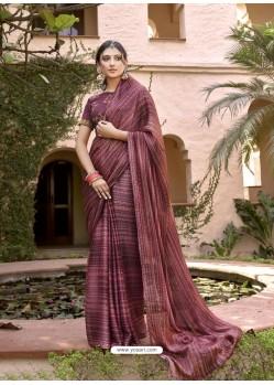 Maroon Designer Classic Wear Chiffon Sari
