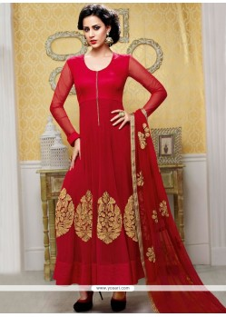 Charming Red Chiffon Anarkali Salwar Suit
