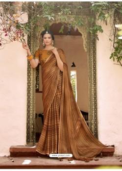 Mustard Designer Classic Wear Chiffon Sari