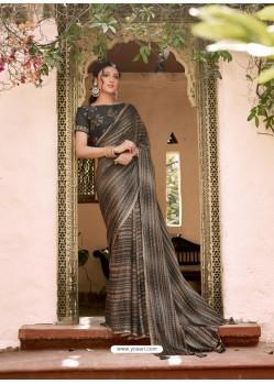 Black Designer Classic Wear Chiffon Sari