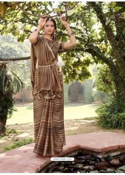 Brown Designer Classic Wear Chiffon Sari