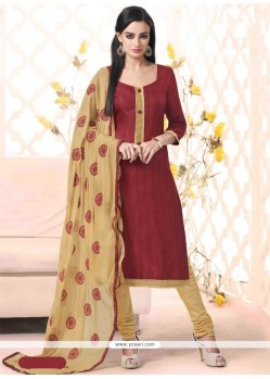 Haute Lace Work Bhagalpuri Silk Maroon Churidar Designer Suit