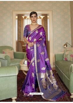 Violet Designer Classic Wear Pure Satin Weaving Sari