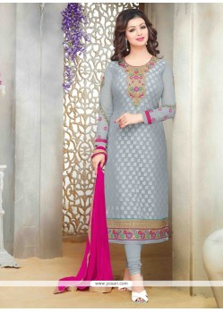 Ayesha Takia Lace Work Grey Designer Straight Suit