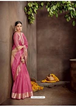 Light Pink Designer Classic Wear Cotton Sari