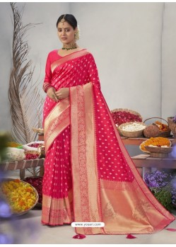 Fuchsia Designer Classic Wear Jacquard Silk Sari
