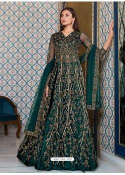 Teal Bridal Designer Party Wear Semi-Stitched Net Gown Suit