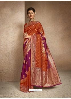 Rust Designer Classic Wear Jacquard Silk Sari
