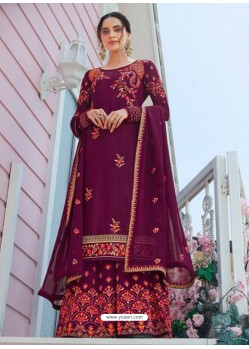 Deep Wine Designer Readymade Plus Size Salwar Suit