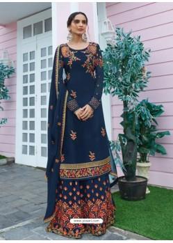 Navy Blue Designer Readymade Plus Size Salwar Suit