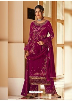 Medium Violet Bridal Designer Party Wear Pure Georgette Palazzo Suit
