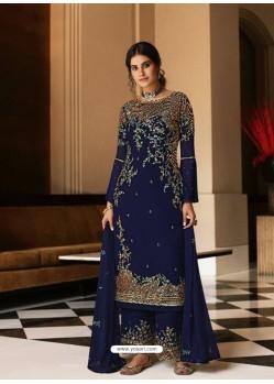 Navy Blue Bridal Designer Party Wear Pure Georgette Palazzo Suit
