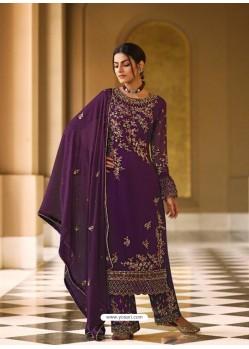 Purple Bridal Designer Party Wear Pure Georgette Palazzo Suit
