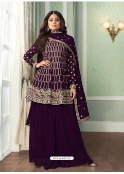 Purple Bridal Designer Party Wear Real Georgette Palazzo Suit