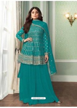 Turquoise Bridal Designer Party Wear Real Georgette Palazzo Suit