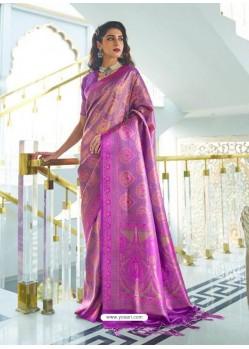 Violet Designer Classic Wear Silk Sari