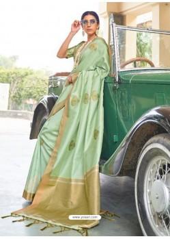 Sea Green Designer Classic Wear Silk Sari