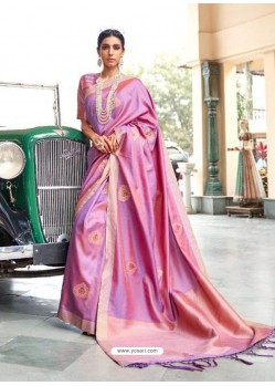 Magenta Designer Classic Wear Silk Sari