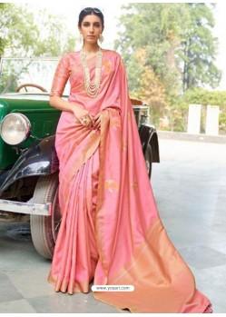 Peach Designer Classic Wear Silk Sari