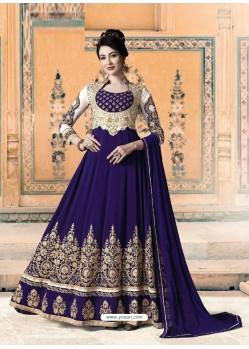Royal Blue Bridal Designer Party Wear Pure Georgette Anarkali Suit