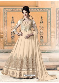 Cream Bridal Designer Party Wear Pure Georgette Anarkali Suit