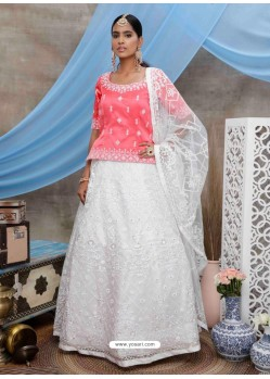 White Scintillating Designer Heavy Wedding Wear Lehenga