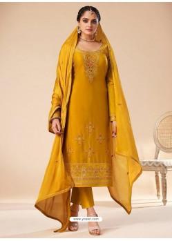 Mustard Designer Jam Silk Party Wear Straight Suit