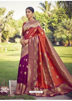 Rust Designer Classic Wear Art Silk Sari