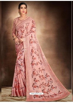 Pink Designer Classic Wear Pure Satin Sari