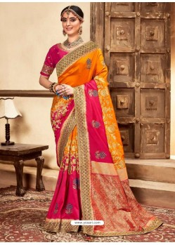 Multi Colour Designer Classic Wear Silk Sari
