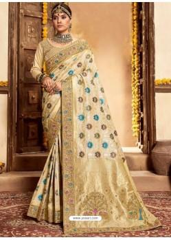 Light Beige Designer Classic Wear Silk Sari