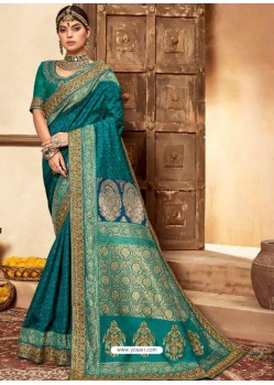 Teal Blue Designer Classic Wear Silk Sari